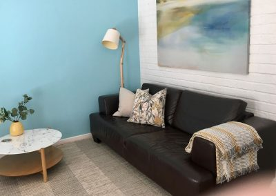 Comfortable lounge room of beach villa, Dunsborough WA